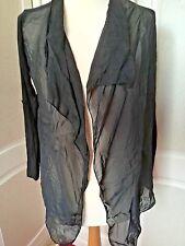 Black waterfall chiffon jacket / cardigan - Small 8-10