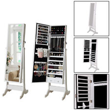 White Jewellery Cabinet Mirror Floor Free Standing Bedroom Storage Organiser