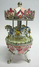 wunderschöne Spieluhr im Stil eines Faberge Ei als Pferde - Karussell rosa NEU