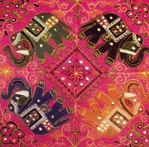 """35"""" PINK EXQUISITE TRIBAL EMBROIDERY GUJARATI ART THROW WALL HANGING TAPESTRY"""