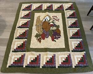 Patchwork & Appliqué Quilt Wall Hanging, Log Cabin, Pumpkins, Fruit, Corn, Leaf