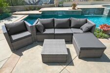6PC Outdoor Patio Furniture Rattan Wicker Sectional Sofa Chair Couch Brown Gray
