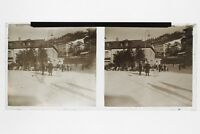Station Inverno Sci Foto Placca Stereo 6x13cm Vintage