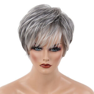 10 Inch Pixie Cut Wig Short Human Hair Straight Layered Wig Bangs for Women