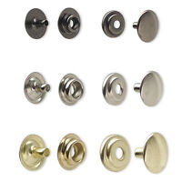 Set of 10 Line 24 Steel Snap Fasteners 15mm Domed Round for Leather & Fabric