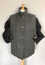 DAKS SIGNATURE Men's Grey Quilted Puffer Wool Bodywarmer Gilet Size Large