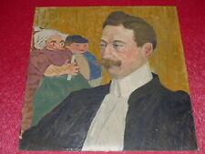 HENRI COUDOUR [XIXe-XXe] Superbe HUILE sur Car Portrait de son avocat MORIN 1910