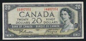 Canada 1954 $20 Twenty Dollar Devil Face Beattie/Coyne Prefix D/E Nice Colour
