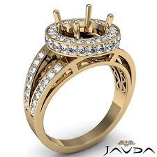 Round Semi Mount Diamond Engagement Halo Pave Set Ring 14k Gold Yellow 0.76Ct
