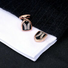 Premium Rose Gold and Diamond Shield Cufflinks Business Men's Shirt Cufflinks