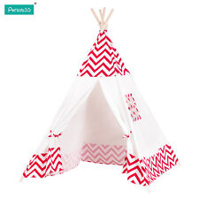 Kids Tipi Teepee Play Tent Play House Outdoor or Indoor Red Strip Tent