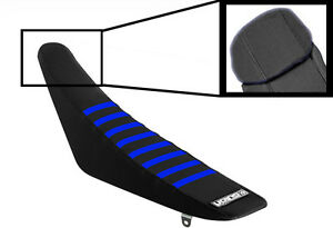 Yamaha YZF 450 2018 - 2020 Ribbed Gripper Seat Cover Black Blue Ribs Motocross