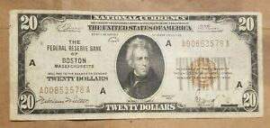 1929 $20 Federal Reserve Bank Note Boston FRBN national FR 1870-A VERY FINE VF