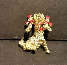 Poodle Dog Brooch Pin Red Enamel Bows Rhinestones Gold Tone