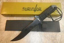 """11 1/2"""" TACTICAL HUNTING Survival Black FIXED BLADE KNIFE Army Bowie w/ SHEATH"""