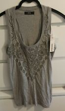 Diesel Womens Size L Grey Long Vest T Shirt Top Brand New with Tags