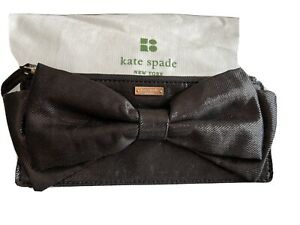❤️ Kate Spade Rosalie Black Bow Evening Clutch Bag Beautiful And New!