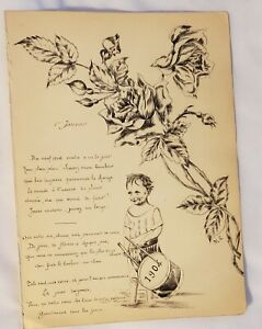 "1904 Amiens, France original ink sketch 'boy drumming' 6"" x 8"" signed ML"