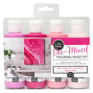 American Crafts Color Pour Pre-Mixed Berry Rush Pouring 4-Piece Paint Kit
