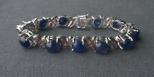 """SOLID 925 STERLING SILVER MIDNIGHT BLUE & COLOUR SAPPHIRES BRACELET 6.75"""""""