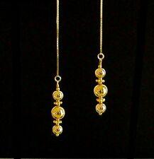 """IAJ"" GOLD gp POLISHED BEADS LINEAR DANGLE 14k GOLD VERMEIL Ear Thread Earrings"