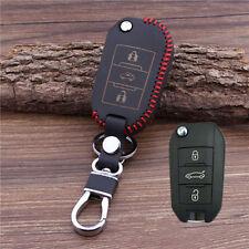 Leather Car Key Cover For Peugeot 3008 308 RCZ 508 408 2008 407 307 4008 keyring