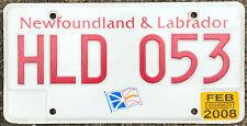 🌟🌎⚜🐦⚜🌎🌟 AUTHENTIC CANADA 2008 NEWFOUNDLAND LICENSE PLATE. FLAG