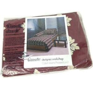 Wamsutta Designers Workshop Calvin Klein Queen Flat Sheet Burgundy Pressed Leaf