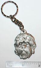 """Dandie Dinmont Terrier Rawcliffe Pewter """"I Love My Dog"""" Vintage Keychain"""