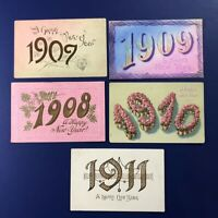Nice 5 New Years Antique Postcards, YEAR DATES 1907-11. For Collectors w Value