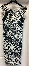 Karen Millen Geometric White Green Black Sheath Dress Sz 8 Sleeveless Knee-Lengt