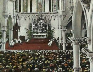 CE-049 TX, Dallas Interior Cathedral Sacred Raphael Tuck divided Back Postcard