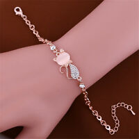 Charm Cute Cat Rose Gold Chain Crystal Rhinestone Bangle Bracelet
