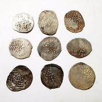 NWA LOT of 9 COINS Vintage HAMMERED SILVER COIN AR Mazuna North Africa VF PATINA