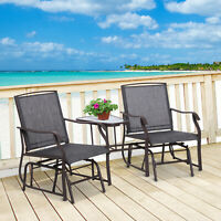 Outsunny Double Glider Chairs w/ Center Table High Back Bench Set Fabric Glass