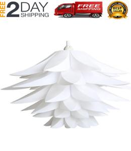 Plug In Hanging Ceiling Lamp Swag Pendant Light Lotus Flower Lamp Shade (White)
