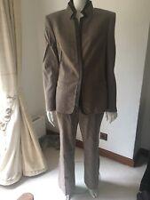 ESCADA Brown Grey Wool Cashmere Leather  Piece Trouser Jacket Suit 40 UK 12 14