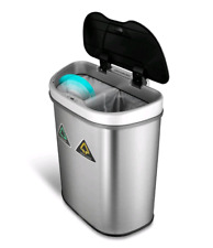 Motion Sensor Recycling Bin Trash Can Container Auto Dual Compartment 18.5 gal