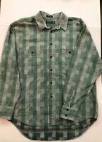Levis Men's Long Sleeve Button Up Flannel Shirt Green Size Large 100% Cotton