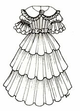 """Period Dress outfit French German Victorian Pattern for a 16"""" to 17"""" Doll 265"""
