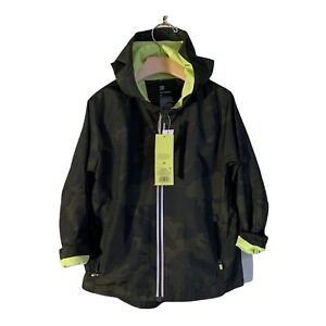 Boys Windbreaker Full Zip All In Motion Green Camo Water Repellent Size X-Small