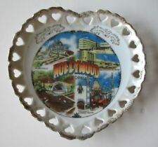Hollywood Small Plate Souvenir Ceramic 6 inch Heart Cutouts Gold Trim Vintage