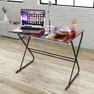 Glass Desk Home Office Workstation Computer Laptop Table Rainbow Metal Base
