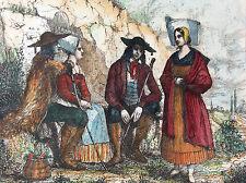 Costumes d'  Ille-et-Vilaine estampe première moitié XIXe France