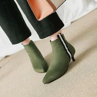 Elegant Women's Ankle Boots Suede Zip Pointy Toe Kitten Heels Multi Color Shoes