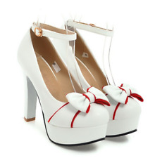 Women Round Toe Bowknot Ankle Strap Buckle High Heel Lolita Casual Shoes Plus sz