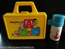 Vintage FISHER-PRICE LITTLE PEOPLE 638 Lunch Crayon Pencil Box 1979 w/ Thermos