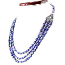 Women Jewellery 309.00 Cts Natural Oval Shape Blue Tanzanite Real Beads Necklace