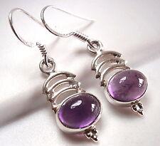 Purple Amethyst Triple Crescent Earrings 925 Sterling Silver Dangle Drop New