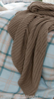 "House Additions Chunky Knit Throw in ""Natural"" Brown (125x150cm)"